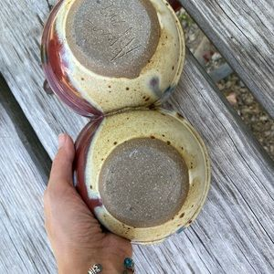 Vintage Kitchen - Handmade Pottery Double Dip bowl